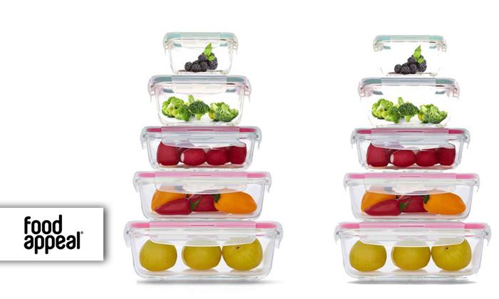 סט 10 כלי אחסון GlassCloc של Food Appeal - משלוח חינם