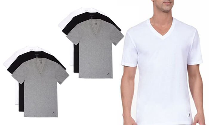 3 מארז 6 חולצות נאוטיקה לגבר- צווארון וי