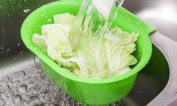 2 מסננת כיור לשטיפת ירקות ופירות