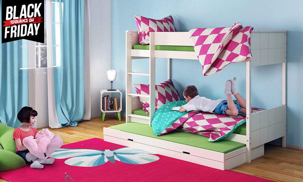 6 שמרת הזורע: מיטת קומותיים מעץ מלא