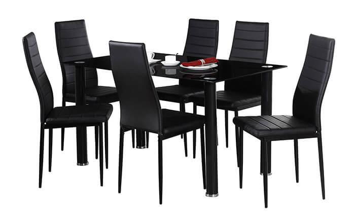 4 פינת אוכל עם 6 כיסאות תואמים