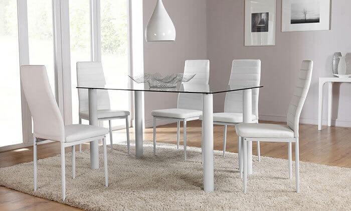 7 פינת אוכל עם 6 כיסאות תואמים