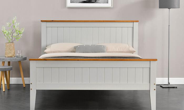 4 מיטה זוגית מעץ אורן מלא