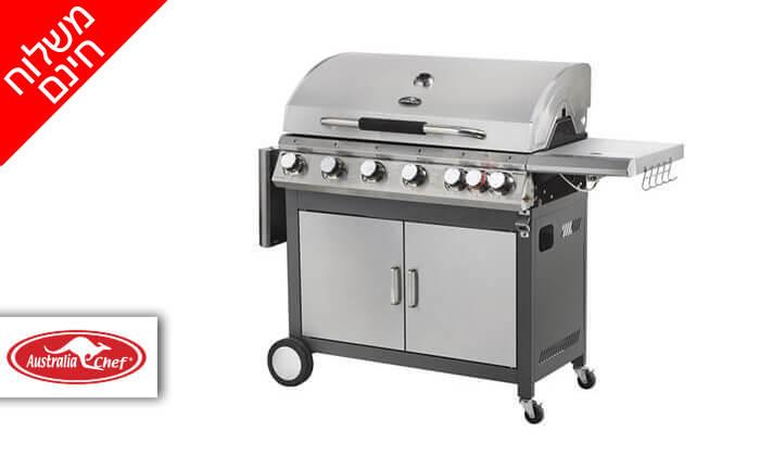 2 גריל גז 6 מבערים Australia Chef כולל גריל מורכב ומשלוח חינם