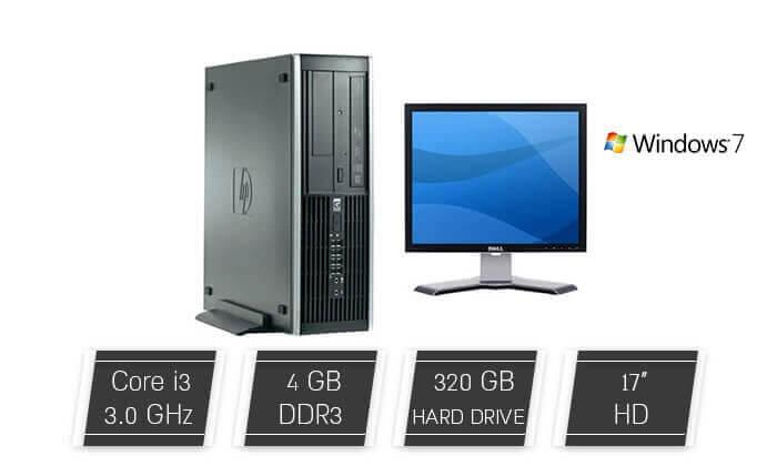 2 מחשב נייח hp כולל מסך, מקלדת ועכבר מתנה