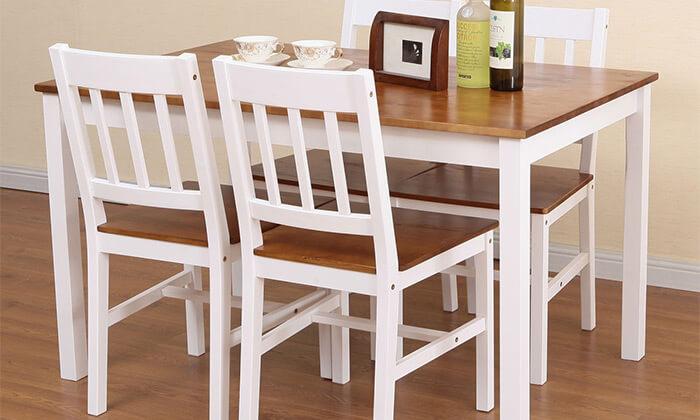 3 פינת אוכל עם 4 כסאות עץ NERON