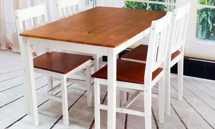 4 פינת אוכל עם 4 כסאות עץ NERON