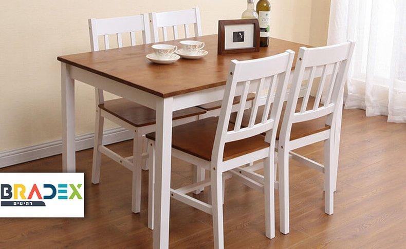 פינת אוכל ו-4 כיסאות עץ NERON