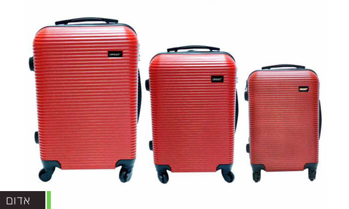 3  סט 3 מזוודות טרולי קשיחות וקלות משקל עם מטען USB