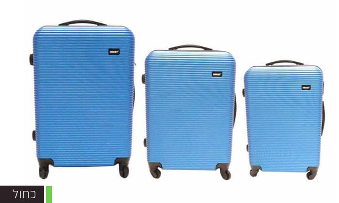4  סט 3 מזוודות טרולי קשיחות וקלות משקל עם מטען USB