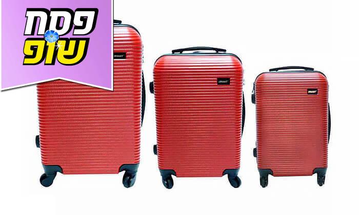 8  סט 3 מזוודות טרולי קשיחות וקלות משקל עם מטען USB