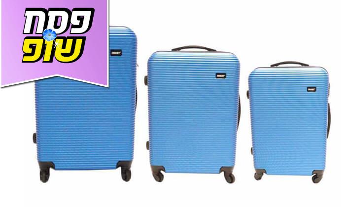 2  סט 3 מזוודות טרולי קשיחות וקלות משקל עם מטען USB